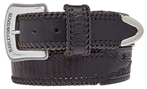 Harley-Davidson Mens Dakota Hand Tooled Genuine Leather Belt HDMBT10832-BLK - Belt Buckle Hand