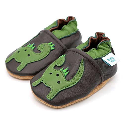 268c473b48475 Dotty Fish Soft Leather Baby Shoes. Toddler Shoes. Boys and Girls.  Dinosaur