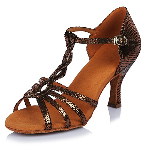 Roymall Womens Leather Latin Dance Shoes Ballroom Salsa Tango Performance Shoes,Model AF429 Bronze