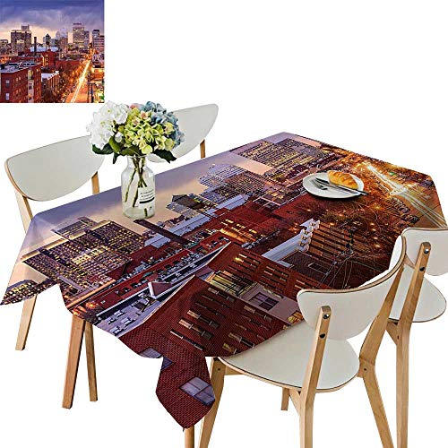 (UHOO2018 Square/Rectangle Polyester Cloth Fabric Cover Richmond Virginia Highway Office Buildings Downtown at Dusk Urban Lifestyle Table Top Cover,50x)