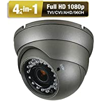 Amview HD 2.6MP 4-in-1 (TVI AHD CVI 960H) 2.8-12mm Varifocal Zoom 36IR LEDs CCTV Surveillance Security Camera