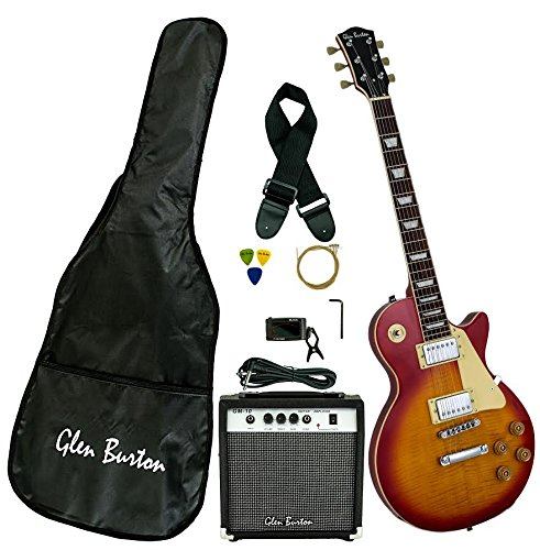 Full Size 39 Inch Cherry Burst Solid Body Cutaway Electric Guitar with Free Amplifier, Digital Tuner, Carrying Bag, Cable, Strap, Strings, & DirectlyCheap(TM) Translucent Blue Pick