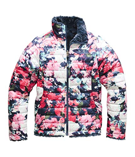 The North Face Girl's Reversible Mossbud Swirl Jacket - Atomic Pink Digi Floral Print - S ()