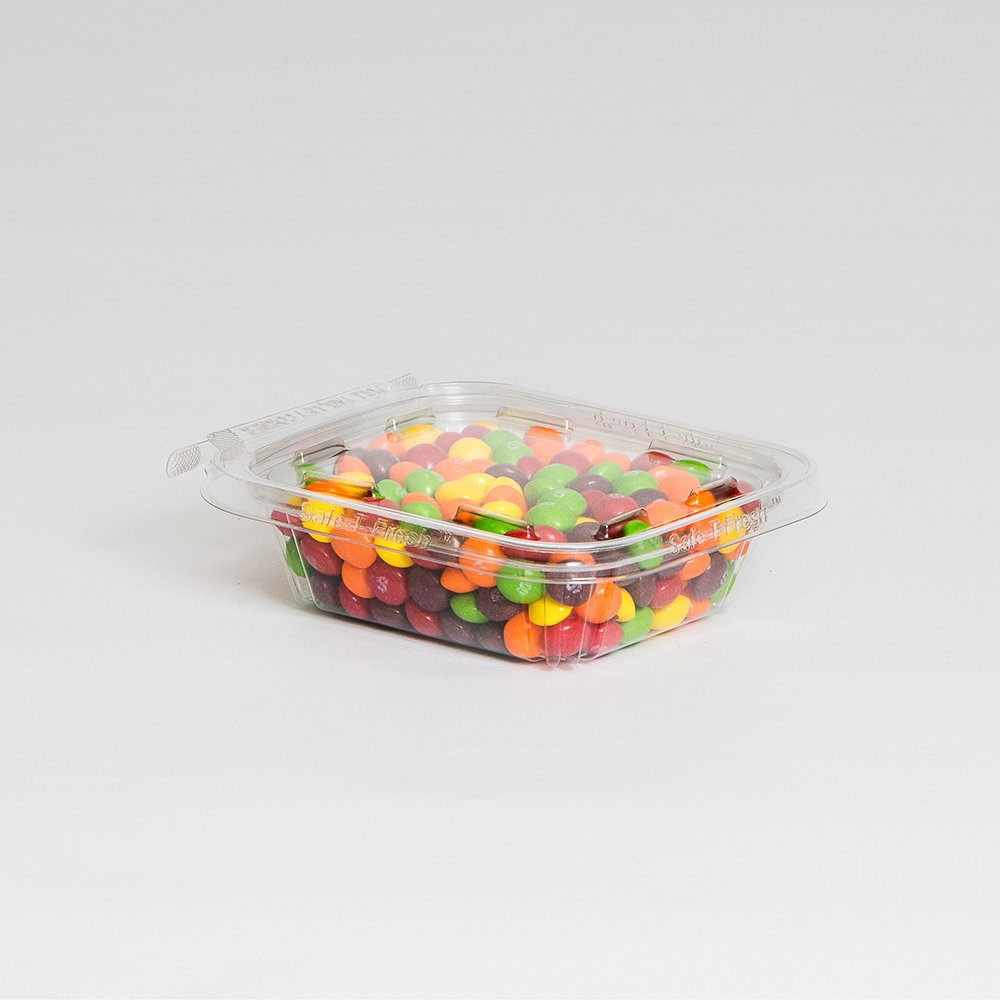 Safe T Fresh Tamper Evident 8 OZ Plastic Clear Hinged Container with Hanger/Case of 240