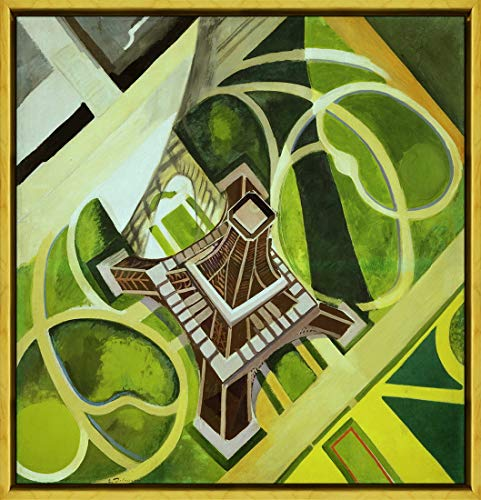 (Berkin Arts Framed Robert Delaunay Giclee Canvas Print Paintings Poster Reproduction(Eiffel Tower and Garden of The Champ) #XLK)