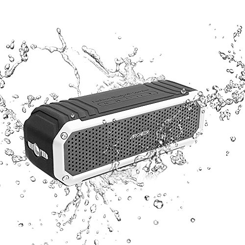 Archeer A226 Portable Wireless Bluetooth Speaker with Light, IPX6 Water Resistant Outdoor Shower Speakers with Dual 5W driver and Enhanced Bass, 12-Hour Playtime, Built-in Microphone, Silver