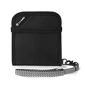 Pacsafe RFIDsafe V100 Anti-Theft RFID Blocking Bi-Fold Wallet, Black
