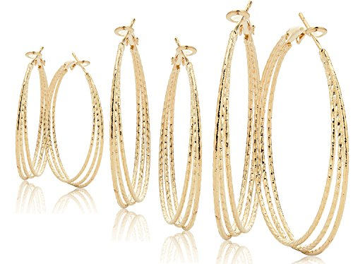 Hoop Earrings Set For Women Men Silver Gold Gunmetal Grey Tone Plate Round Fashion Jewelry 3 Pairs