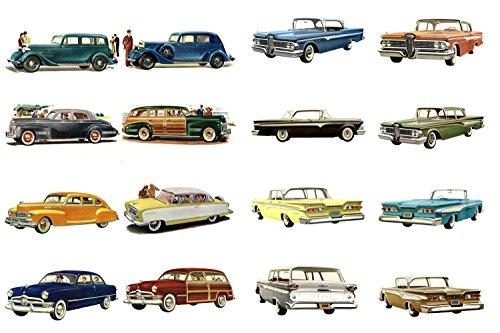"""Decoupage Paper Pack (10sheets A4 / 8""""x12"""") Classic Cars America Golden Era FLONZ Vintage Paper"""