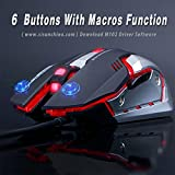 LINGYI Gaming mouse, 6 Programmable Buttons, 4 Adjustable DPI Levels, 4 Circular & Breathing LED Light, Wired Mouse Used for games and office[ Black ]