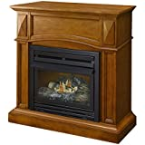 Pleasant Hearth VFF-PH20D Heritage Compact Vent-Free Dual Fuel Gas Fireplace with Wall Corner Combo