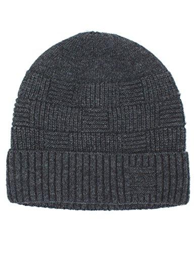 Dahlia Men's Wool Blend Beanie Hat - Velour Lined Basketweave - Dark Gray