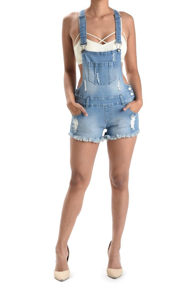 G-Style USA Women's Ripped Cut-Off Short Overalls RJSO608 - LIGHT BLUE - X-Large - CC7C