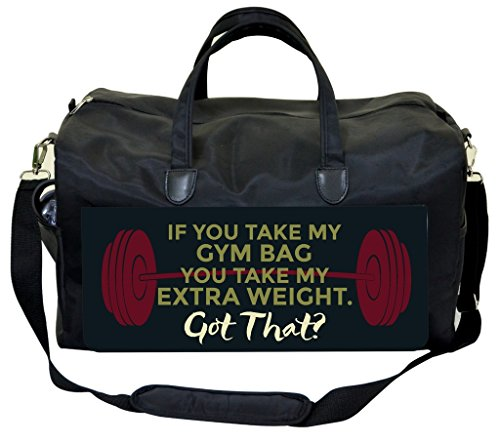 "Price comparison product image Funny Phrase-""If You Take My Gym Bag..""-Purple Barbell Gym Bag"