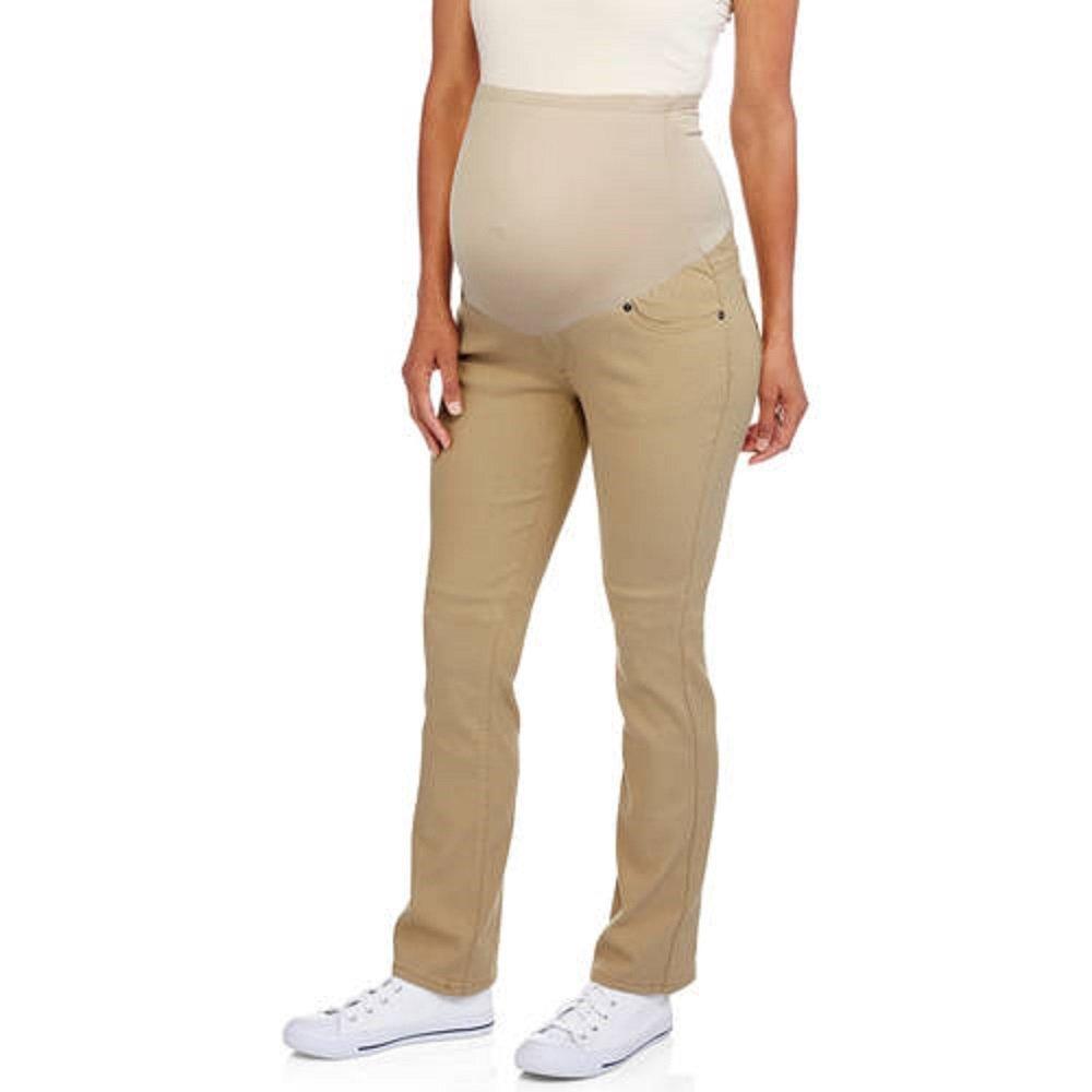Oh! Mamma Maternity Full Panel Stretch Twill Bootcut Pants (XL, Khaki)