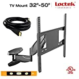 Loctek TV Wall Mount Bracket 32-50 inch 32'' 35'' 40'' 42'' 45'' 50'' LED LCD Plasma Flat Screen - VESA 400x400 mm with Full Motion Swivel Articulating Arm with free 10 ft HDMI CABLE and Magnetic Bubble Level