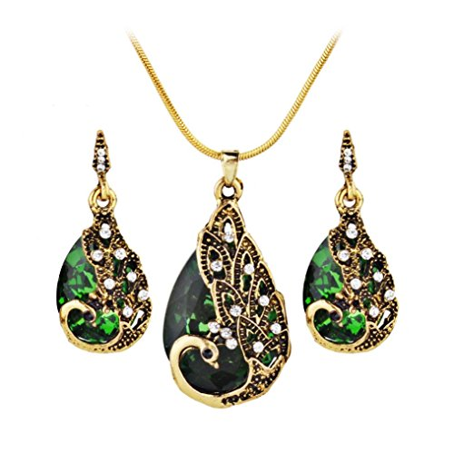 Celendi_ Jewerly Set Ear Studs Peacock Pendant Necklace for Women