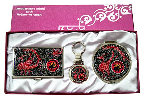 Nacre Mother of Pearl Business Card Holder Compact Mirror Keychain Gift Sets, Business Card Credit Id Card Case Makeup Cosmatic Mirror Key Holder Set Three Leg Crow - Mirror Keychain Compact