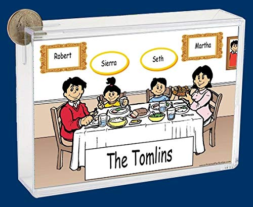 Personalized NTT Cartoon Side Slide Frame Gift: Family Dinner 1 boy, 1 Girl Gift, Family Gift