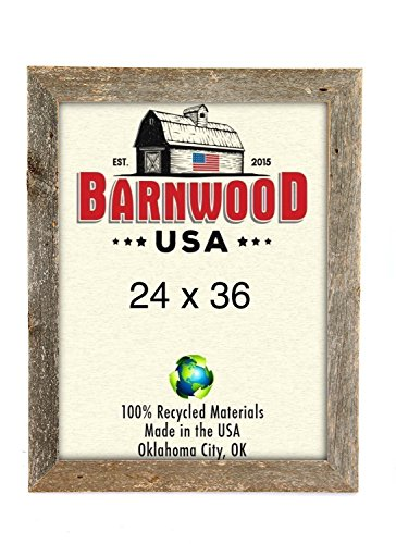 BarnwoodUSA Rustic 24x36 Inch Picture Frame 1 5/8 Inch Wide - 100% Reclaimed Wood, Weathered Gray (Made Poster Frames Ready)