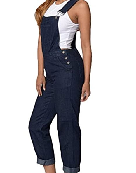 3e41c0bef51 Faithtur Women s Super Comfy Stretch Denim Bib Overall Classic Long Jeans  Overall Jumpsuit (US 10