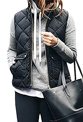 FISACE Women's Stand Collar Basic Solid Quilted Padding Vest Jacket Coats