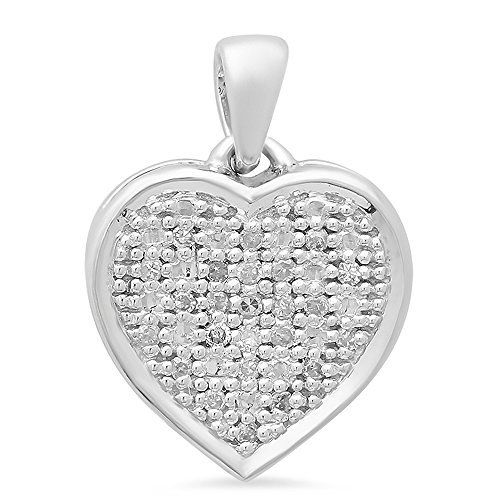 0.04 Carat (ctw) 14K Gold Round White Diamond Ladies Heart Pendant