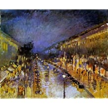 16X20 inch Pissarro Camille Boulevard Montmartre at Night Sun Art