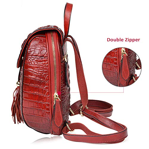 Red Bags Purses For Women Backpack Backpack Crocodile Leather Dark Fashion Casual PIJUSHI xZX6PT