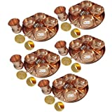 Prisha India Craft Set of 5 Indian Dinnerware Pure Copper Thali Set Traditional Dinner Set of Thali Plate, Bowl, Spoon, Fork, Glass - Dia 12 Inch with Napkin ring and Coaster - Christmas Gift