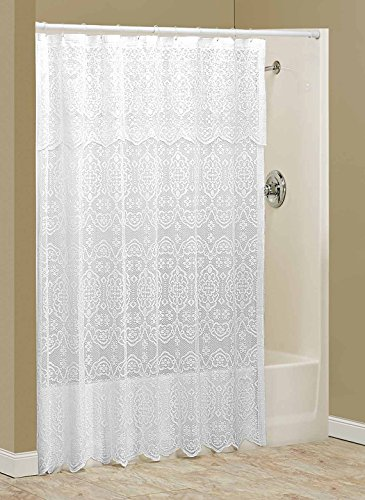 Madison Lace Shower Curtain With Valance By WalterDrake