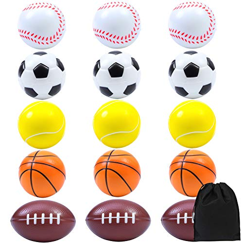 Elcoho 15 Pack Soft Sports Balls for Kids Stress Balls Foam Balls for Party Favor Toy Includes Soccer Ball, Basketball, Baseball, Football, and Tennis Ball