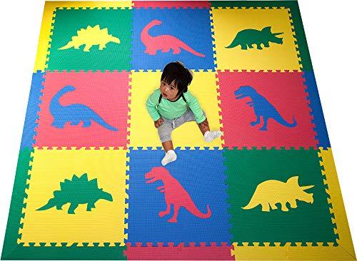 SoftTiles Kids Interlocking Foam Play Mats- Dinosaur Jurassic Theme- Premium Foam Mats for Childrens Playrooms and Baby Nursery- Large 6.5 x 6.5 ft. - Primary Colors SCDPRIMBORD