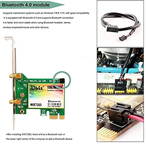 Ubit Bluetooth WiFi Card AC 1200Mbps, Wireless WiFi PCIe Network Adapter Card 5GHz/2.4GHz Dual Band PCI Express Network Card with Bluetooth 4.2 and 2 ...