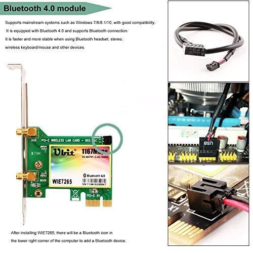 Amazon.com: Bluetooth WiFi Card AC 1200Mbps,Ubit Wireless WiFi PCIe Network Adapter Card 5GHz/2.4GHz Dual Band PCI Express Network Card with Bluetooth 4.0 ...