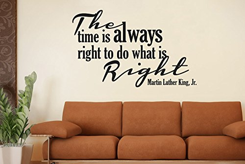 Martin Luther King Time Always Right To Do What Is Right Wall Stickers - Large (Height 57cm x Width 90cm) Black (Right Large Mural)