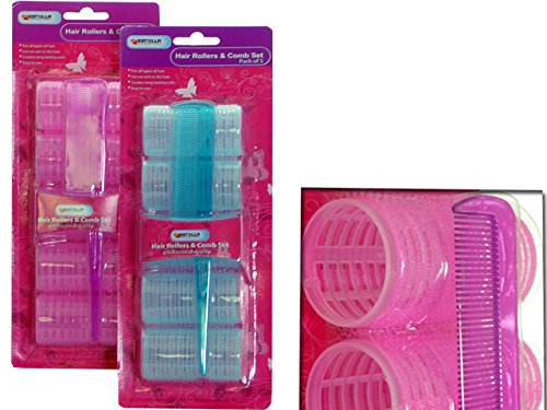 CLING HAIR ROLLERS 5PC+COMB6DIAX3.5CM BL+PK CLR , Case of 96 by DollarItemDirect