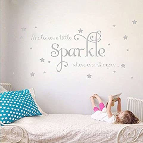 She Leaves a Little Sparkle Girls Room Vinyl Wall Decal Sticker Inspirational Quote with Stars (Silver, 26x65 inches)