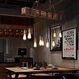 Jiuzhuo Farmhouse Style Dark Distressed Wood Beam Large Linear Island Pendant Light 10-Light Chandelier Lighting Hanging Ceiling Fixture