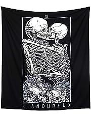 LOMOHOO Skull Tapestry Kissing Lover Black and White Tarot Skeleton Flower Tapestry Wall Hanging Beach Blanket Romantic Bedroom Dorm Home Decor