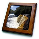 3dRose ft_91195_1 Upper Tahquamenon Waterfalls, Michigan - US23 DFR0232 - David R. Frazier - Framed Tile, 8 by 8-Inch