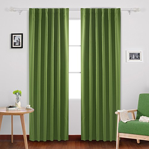 Deconovo Thermal Insulated Blackout Curtains Rod Pocket and Back Tab Curtains Room Darkening Curtains for Living Room 52x95 Inch Grass Green Set of 2 95 Green
