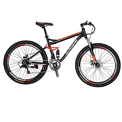 EUROBIKE S7 Mountain Bike 27.5 Inche Wheels Dual Suspension Mountain Bicycle 21 Speed MTB