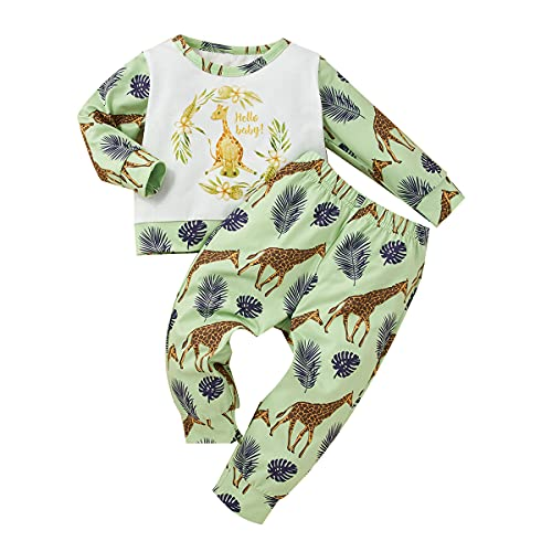 Newborn Infant Baby Boy Clothes Outfits New to The Crew Long Sleeve Outfits Camou Long Pants Toddler Baby Boy Clothes Set (Green, 6-12 Months)