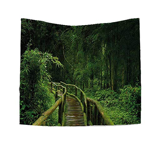 - RuppertTextile Jungle Square Tapestry Freshness Tropical Thailand Forest Wooden Bridge Foliage Meditation Calm Landscape Throw, Bed, Tapestry Yoga Blanket 55W x 55L Inch Green