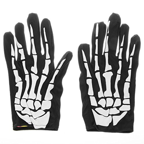 Hever Adult Halloween Fancy Dress 3D Skeleton Bones Gloves - Black + White