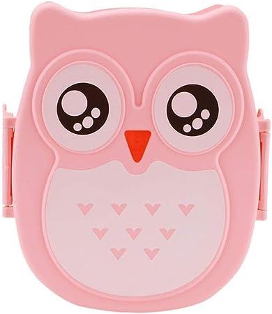 Linda del búho de dibujos animados caja de almuerzo del envase de alimento Caja de almacenamiento portátiles Niños Estudiante Fiambrera con compartimentos Caja Bento envase de la caja (Color : Pink): Amazon.es: