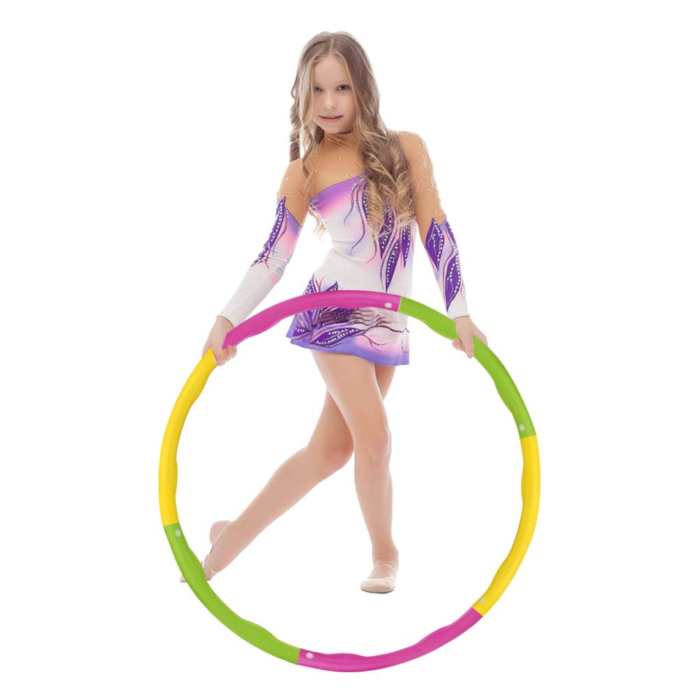 accmor Hula Hoop for Kids, 6 Sections Detachable & Size Adjustable Design Weighted Hula Hoop, Professional Kids Hula Hoop for Sports & Playing, Exercise, 1.8lb