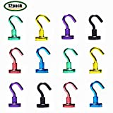 Youngneer 12pcs Magnetic Hooks Heavy Duty Dia 16mm 12LB Colored Small Magnet Hangers for Refrigerator Kitchen Indoor Outdoor