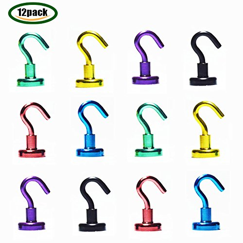 Youngneer 12pcs Magnetic Hooks Heavy Duty Dia 16mm 12LB Colored Small Magnet Hangers for Refrigerator Kitchen Indoor Outdoor by Youngneer